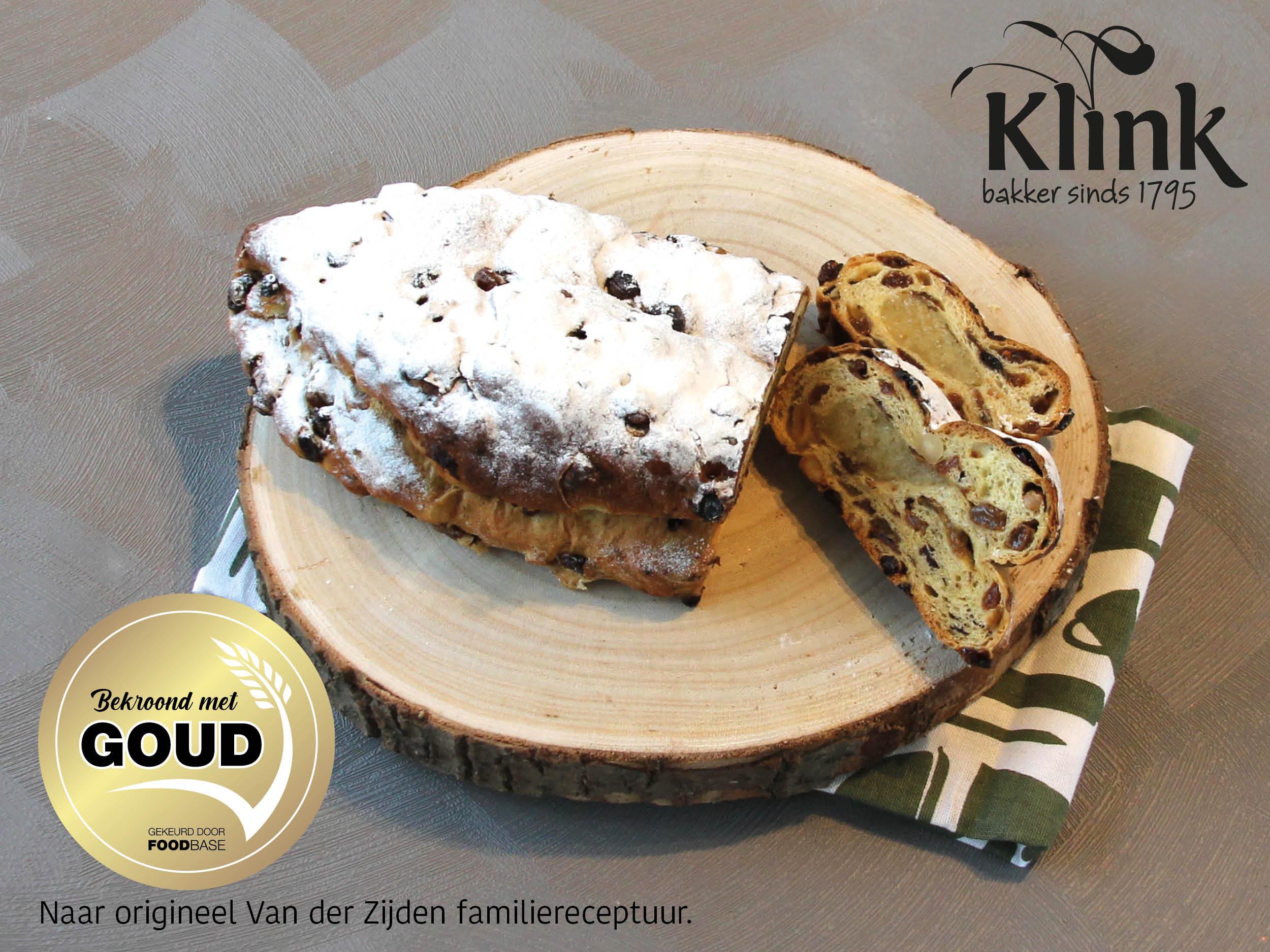 Kerststol van Bakker Klink met Goud Bekroond; naar familierecept van Van der Zijden.